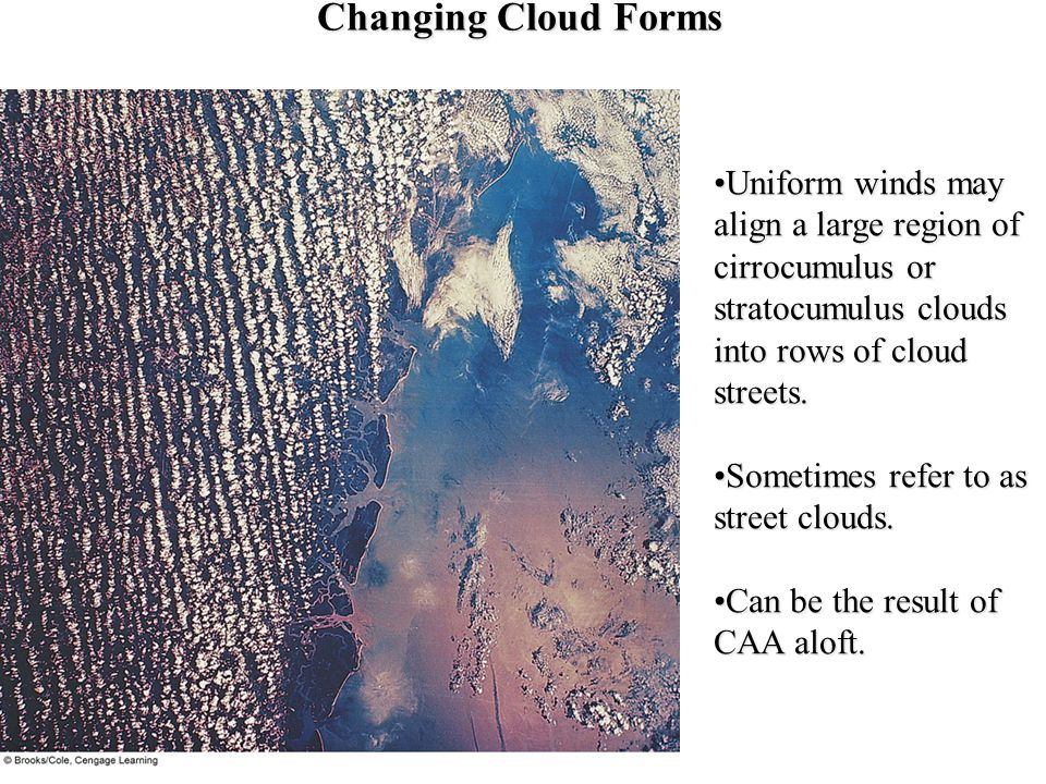 Changing Cloud Forms Uniform winds may align a large region of cirrocumulus or stratocumulus clouds into rows of cloud streets.