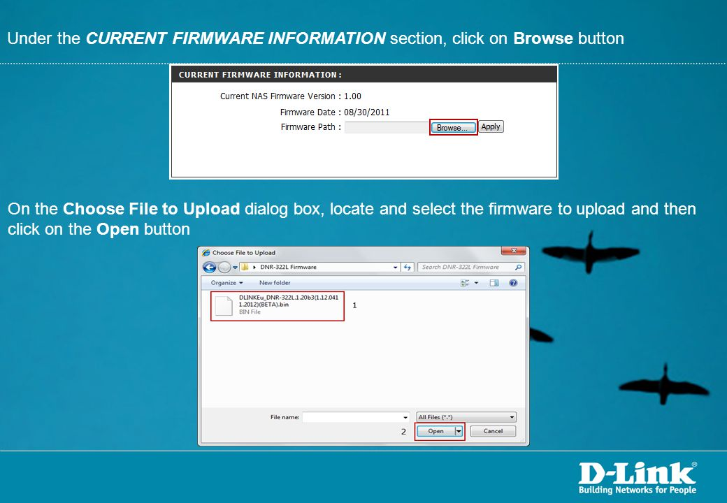 Under the CURRENT FIRMWARE INFORMATION section, click on Browse button