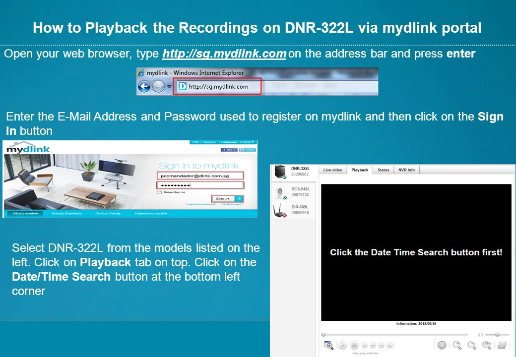 How to Playback the Recordings on DNR-322L via mydlink portal