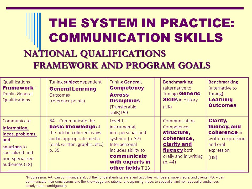 THE SYSTEM IN PRACTICE: COMMUNICATION SKILLS