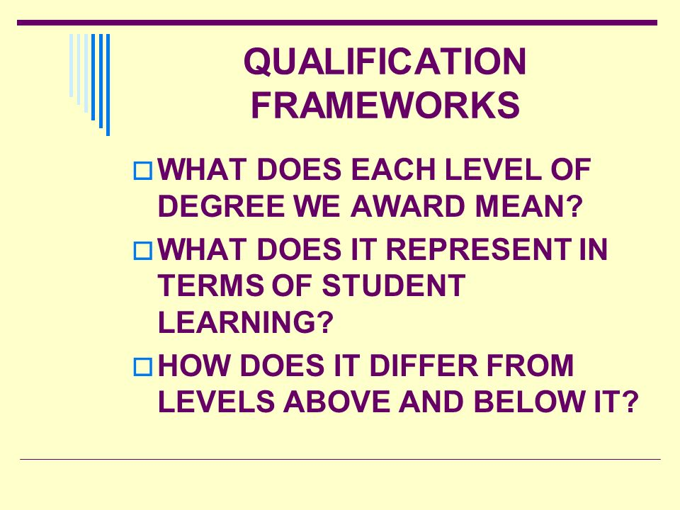 QUALIFICATION FRAMEWORKS