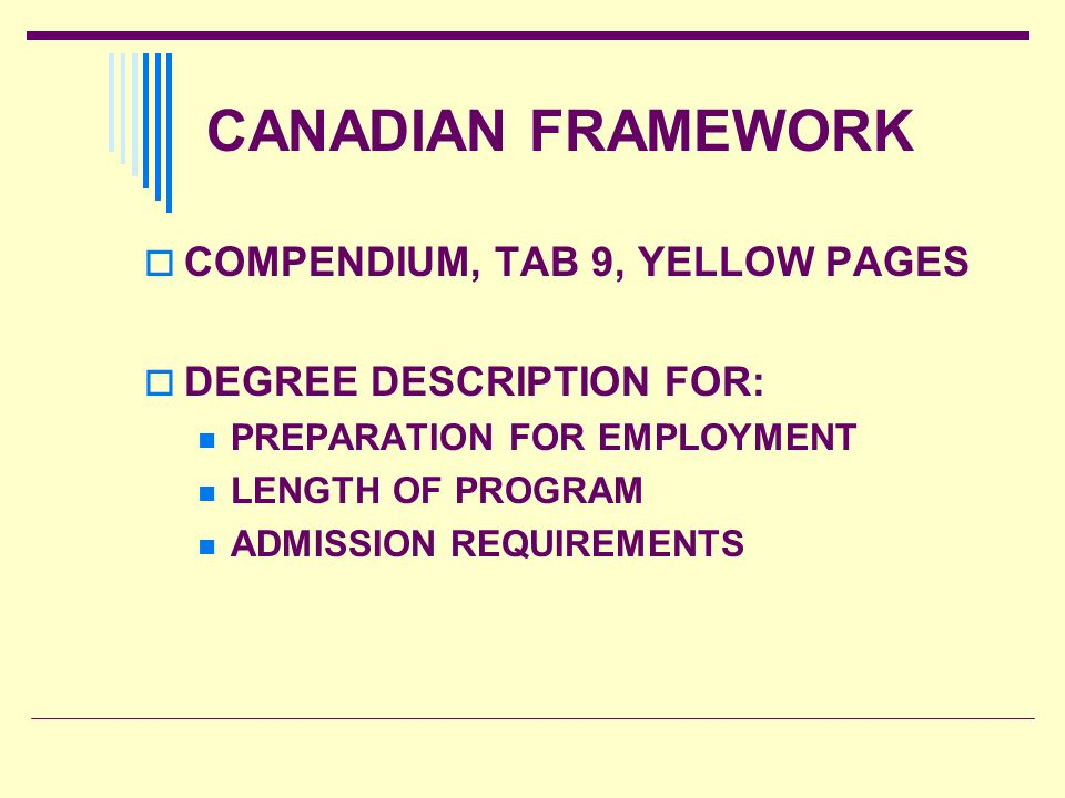 CANADIAN FRAMEWORK COMPENDIUM, TAB 9, YELLOW PAGES