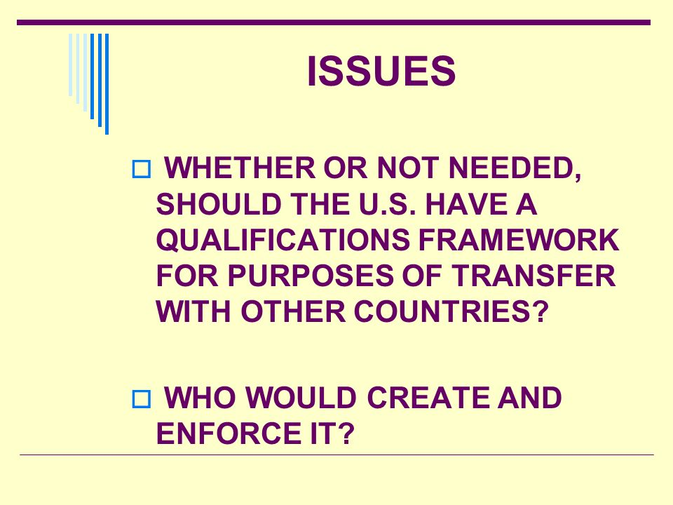 ISSUES WHETHER OR NOT NEEDED, SHOULD THE U.S. HAVE A QUALIFICATIONS FRAMEWORK FOR PURPOSES OF TRANSFER WITH OTHER COUNTRIES