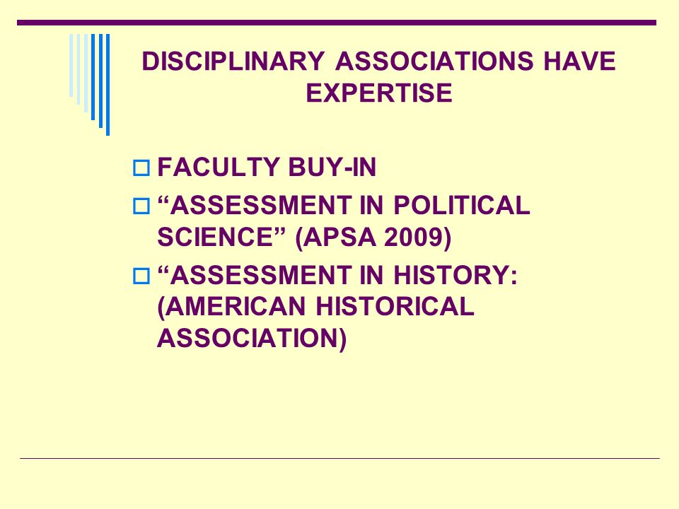 DISCIPLINARY ASSOCIATIONS HAVE EXPERTISE