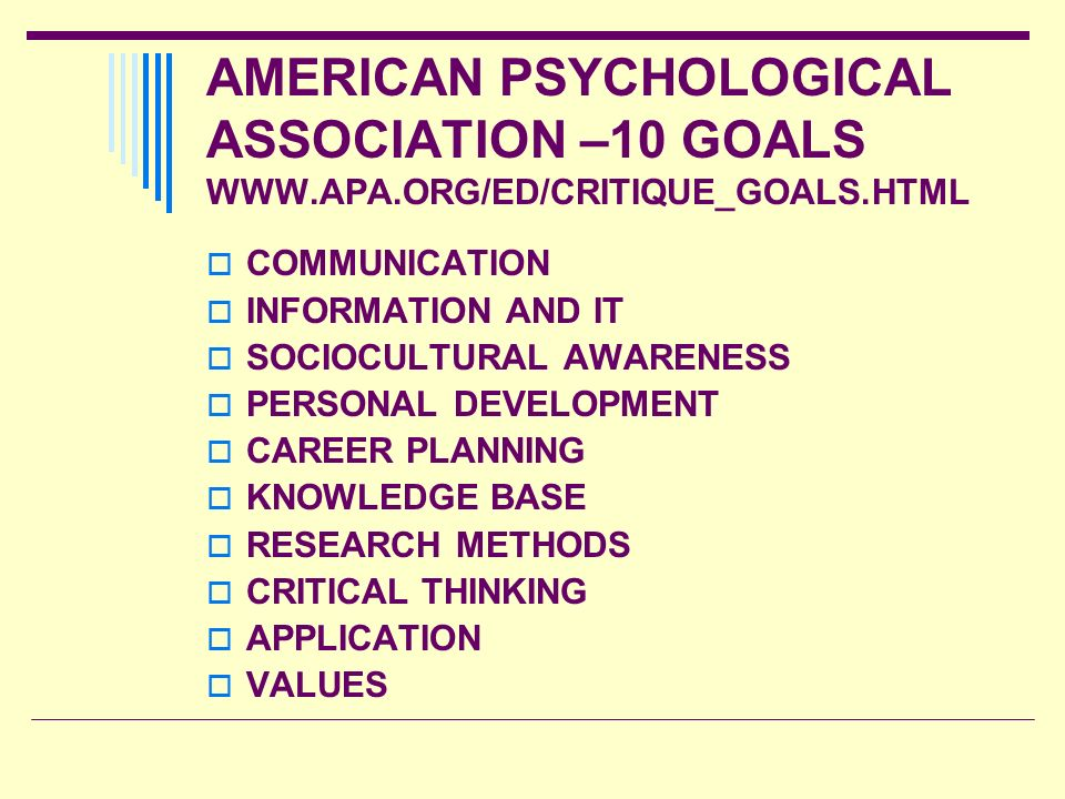 AMERICAN PSYCHOLOGICAL ASSOCIATION –10 GOALS WWW. APA