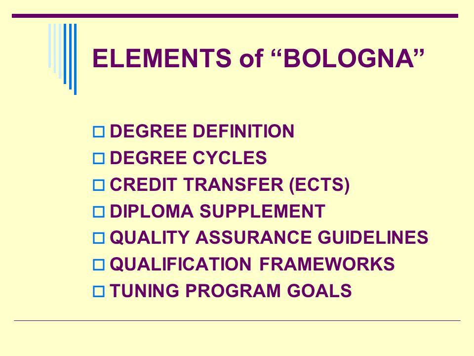 ELEMENTS of BOLOGNA DEGREE DEFINITION DEGREE CYCLES
