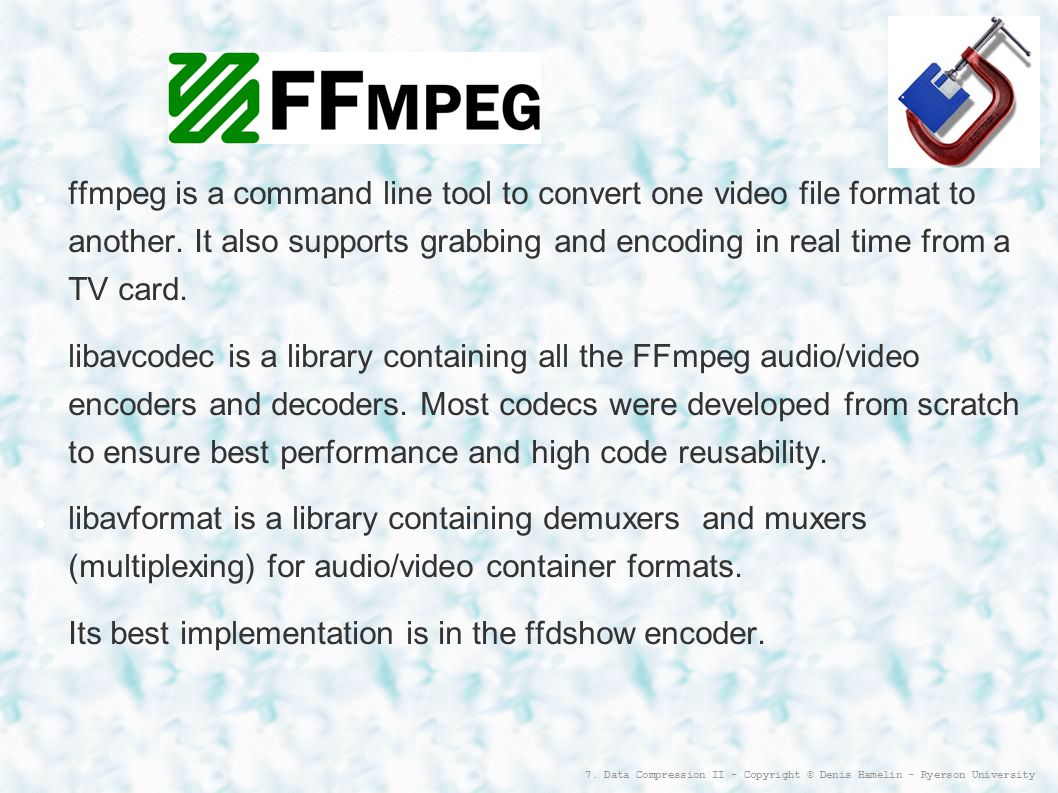 Data Compression II (Codecs and Container Formats) - ppt download