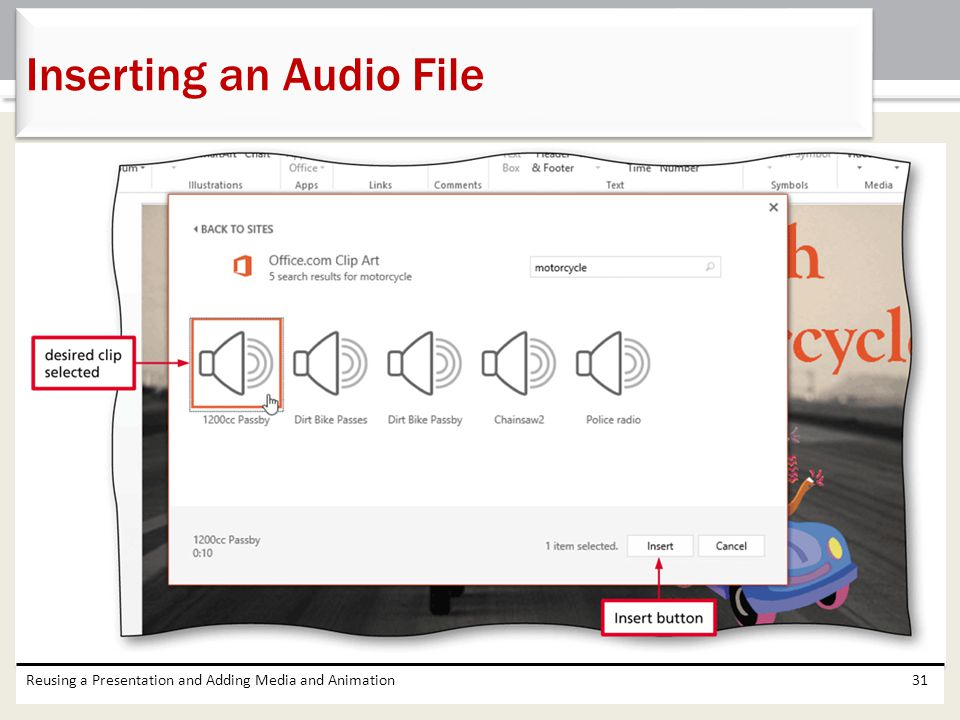 Inserting an Audio File
