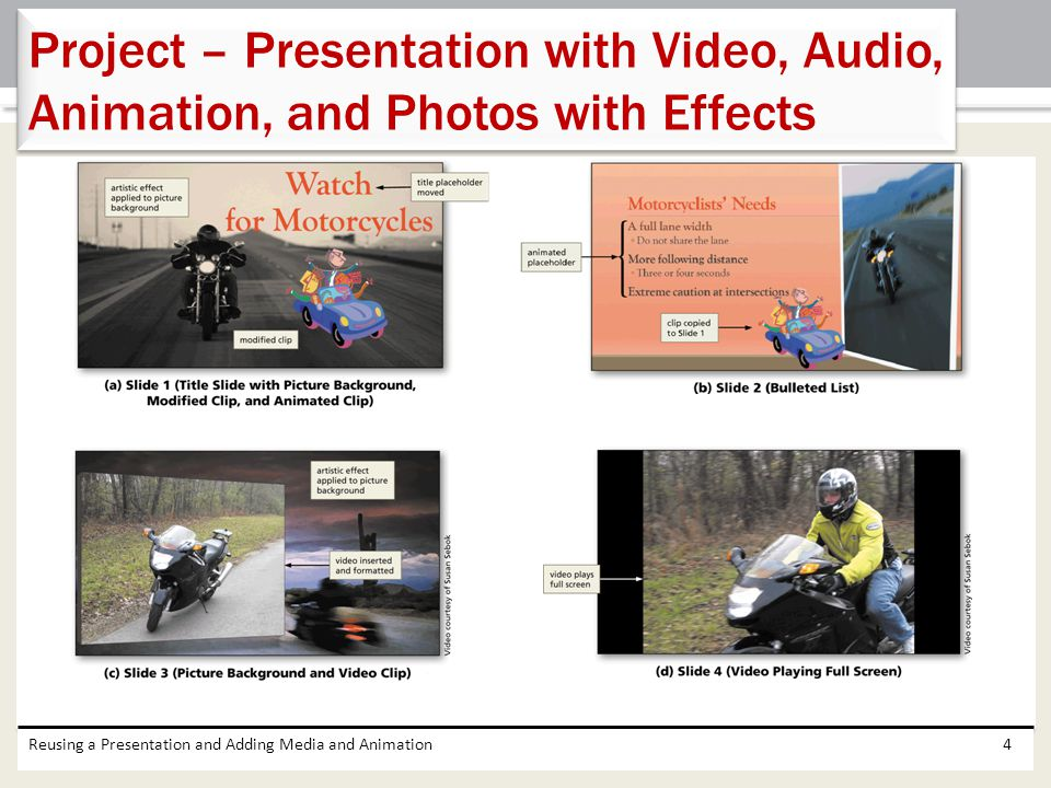Project – Presentation with Video, Audio, Animation, and Photos with Effects