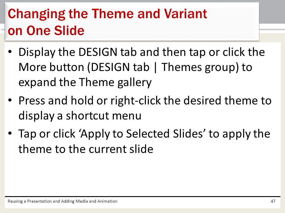 Changing the Theme and Variant on One Slide
