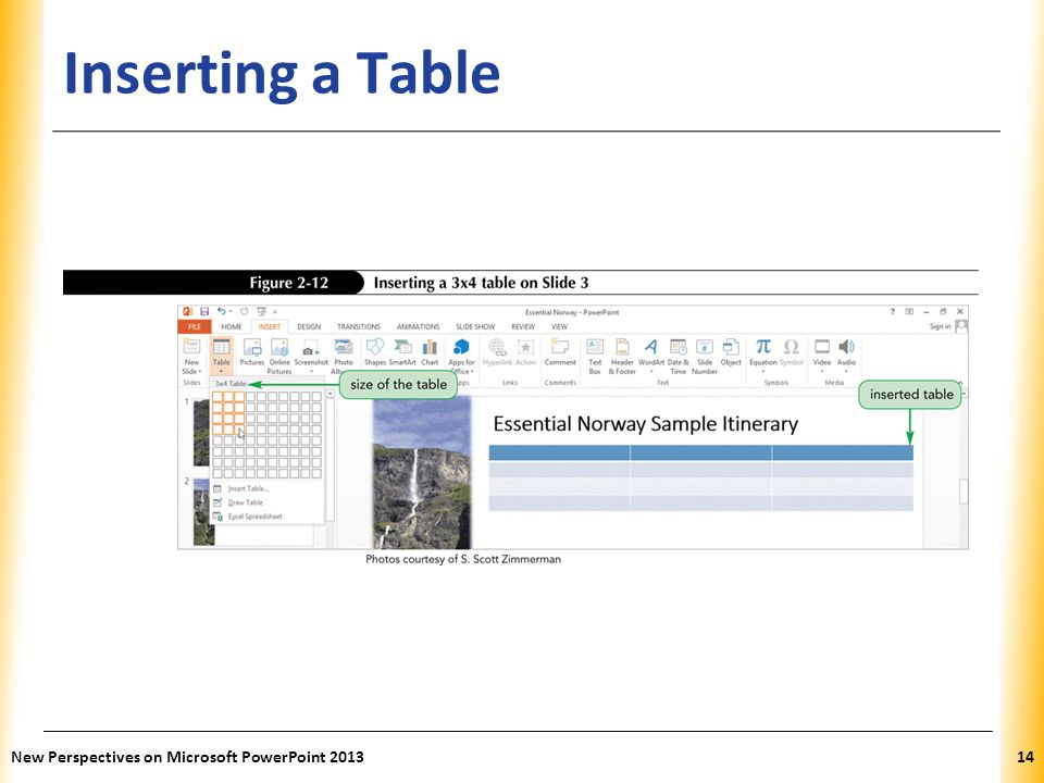 Inserting a Table New Perspectives on Microsoft PowerPoint 2013