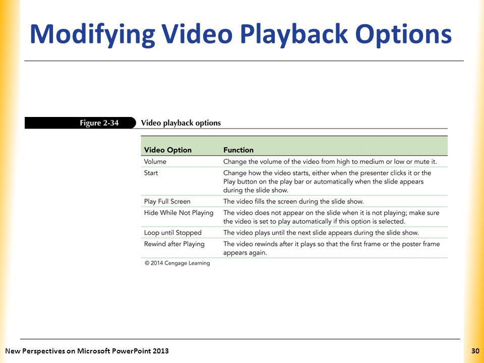 Modifying Video Playback Options