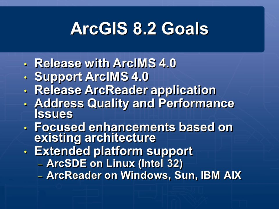 ArcGIS 8.2 Goals Release with ArcIMS 4.0 Support ArcIMS 4.0