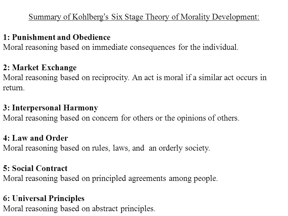Summary of Kohlberg's Six Stage Theory of Morality Development: