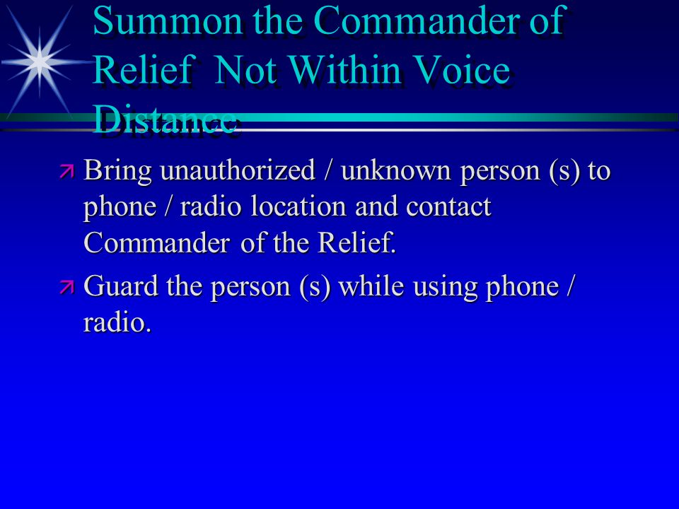 Summon the Commander of Relief Not Within Voice Distance