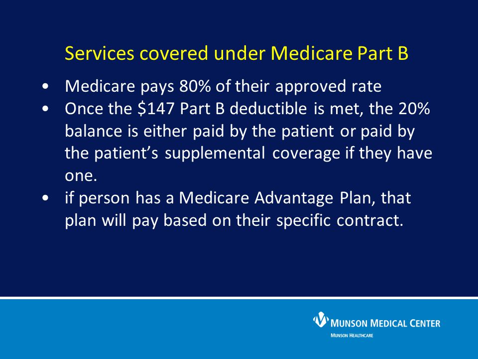 Service covered under Medicare Part B Services covered under Medicare Part B
