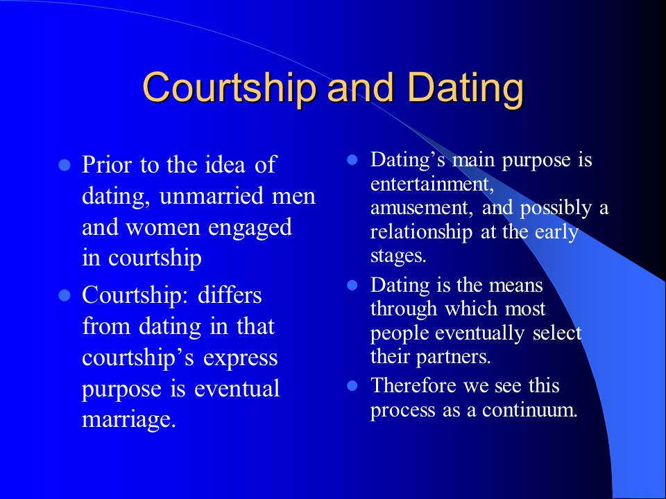 What is the meaning of dating and courtship