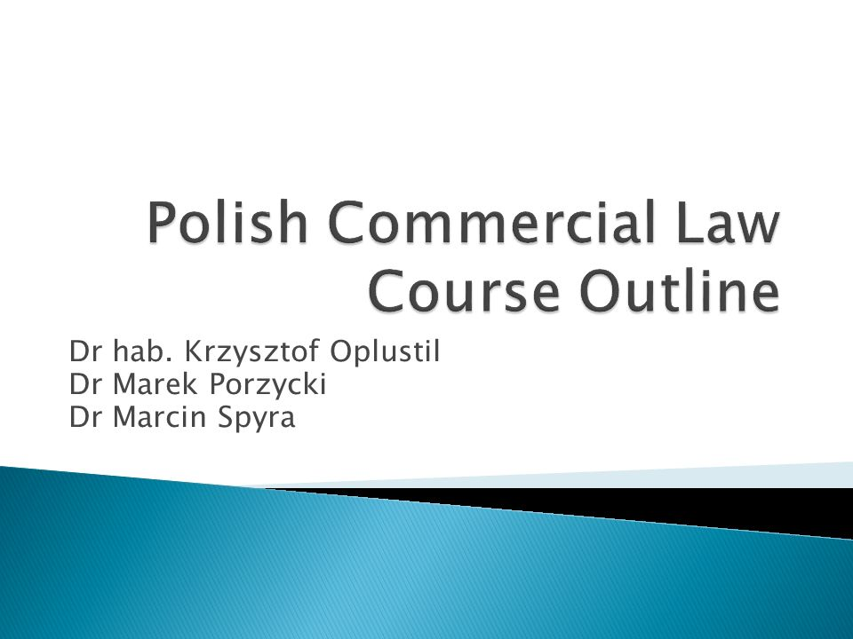 Polish Commercial Law Course Outline