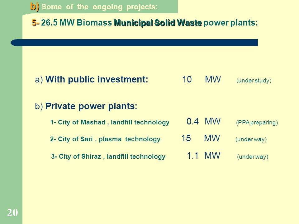 MW Biomass Municipal Solid Waste power plants: