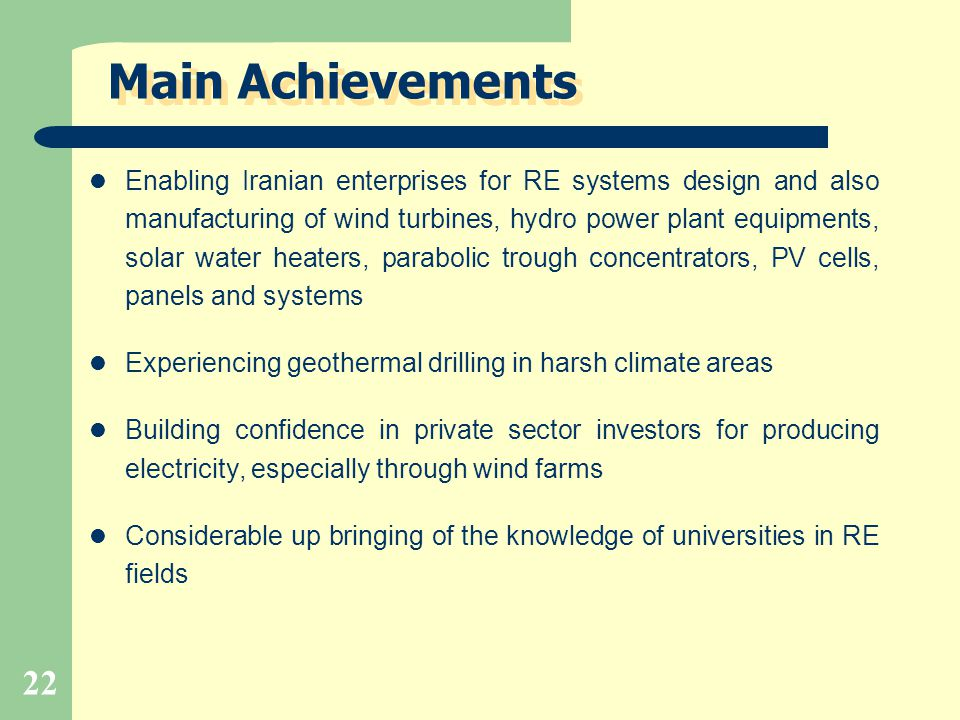 Main Achievements