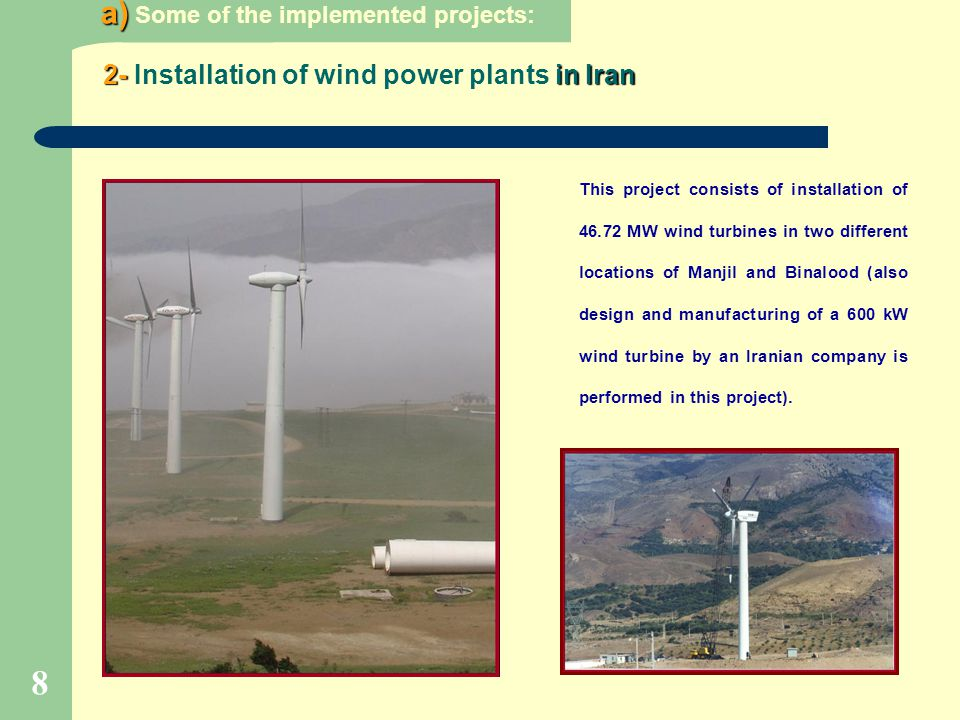 2- Installation of wind power plants in Iran