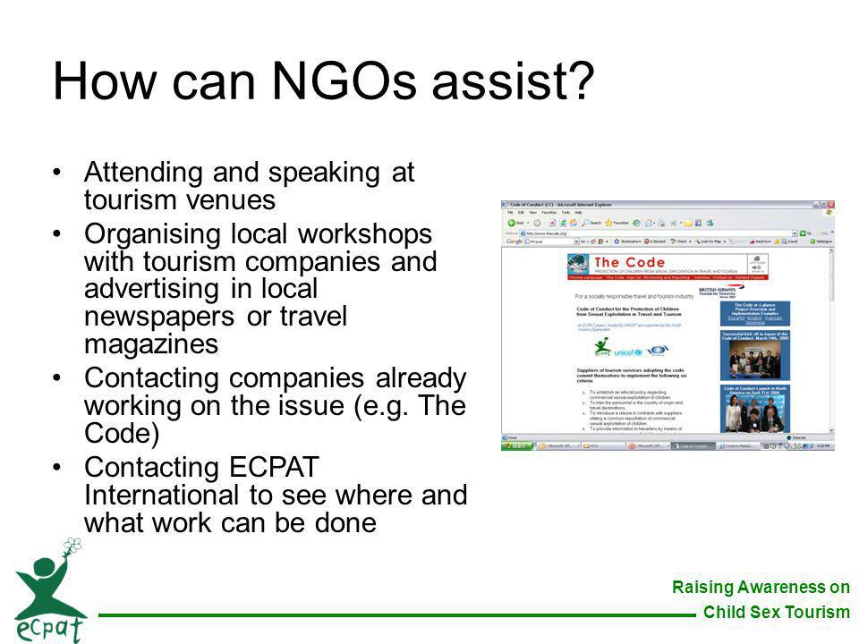 How can NGOs assist Attending and speaking at tourism venues