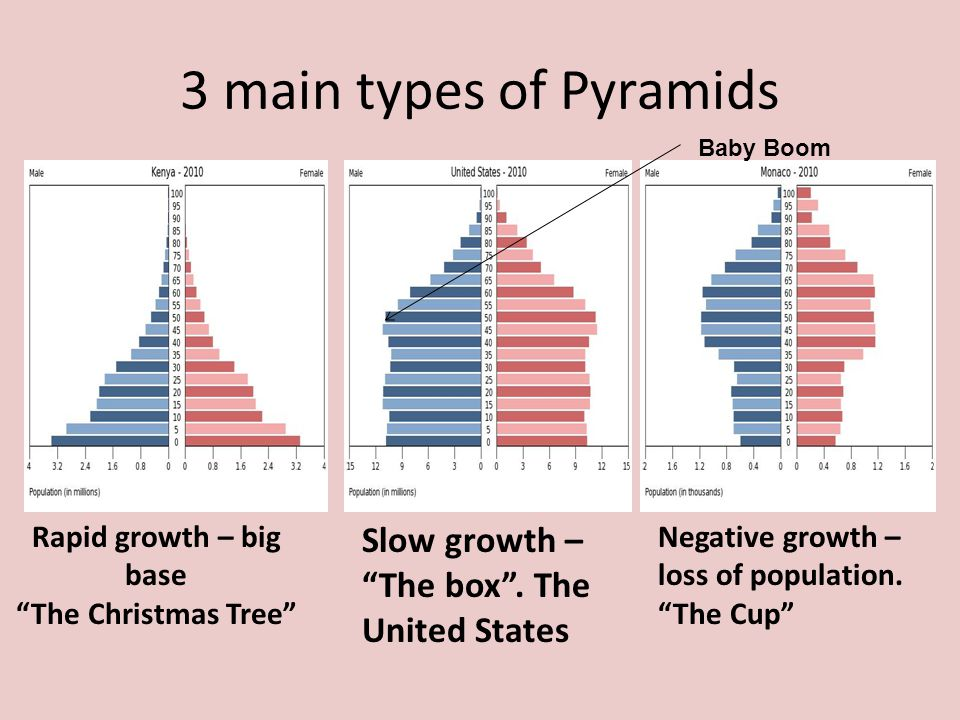 3 main types of Pyramids Slow growth – The box . The United States