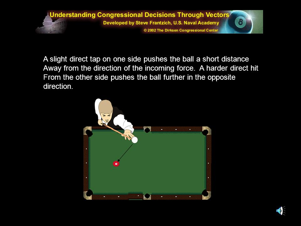 A slight direct tap on one side pushes the ball a short distance