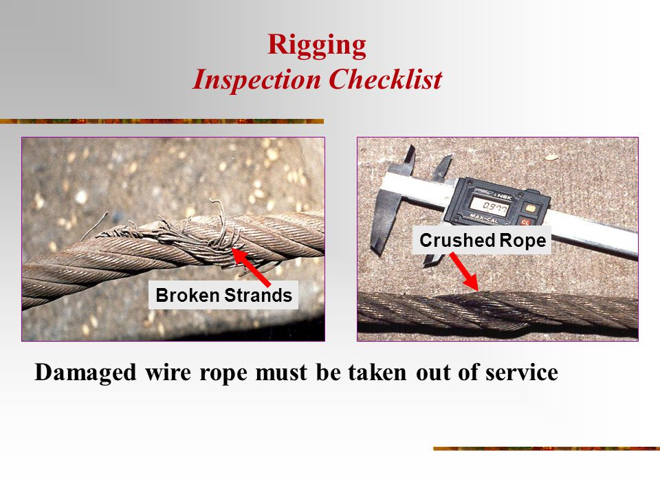 Nice Wire Rope Sling Inspection Checklist Frieze - Electrical ...