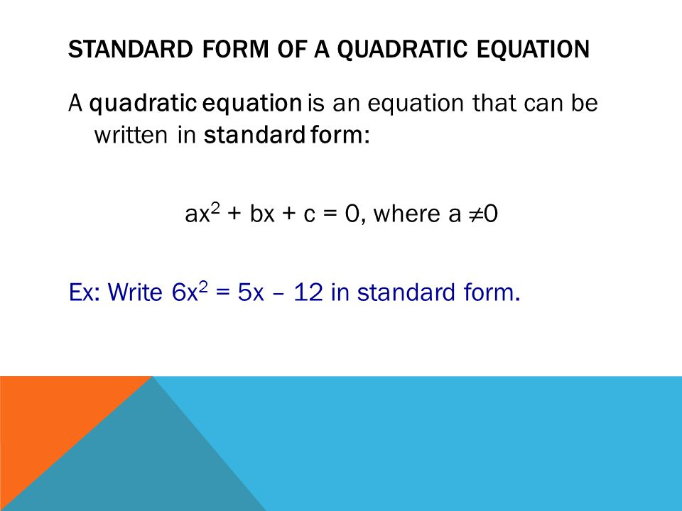 Standard form of a quadratic equation