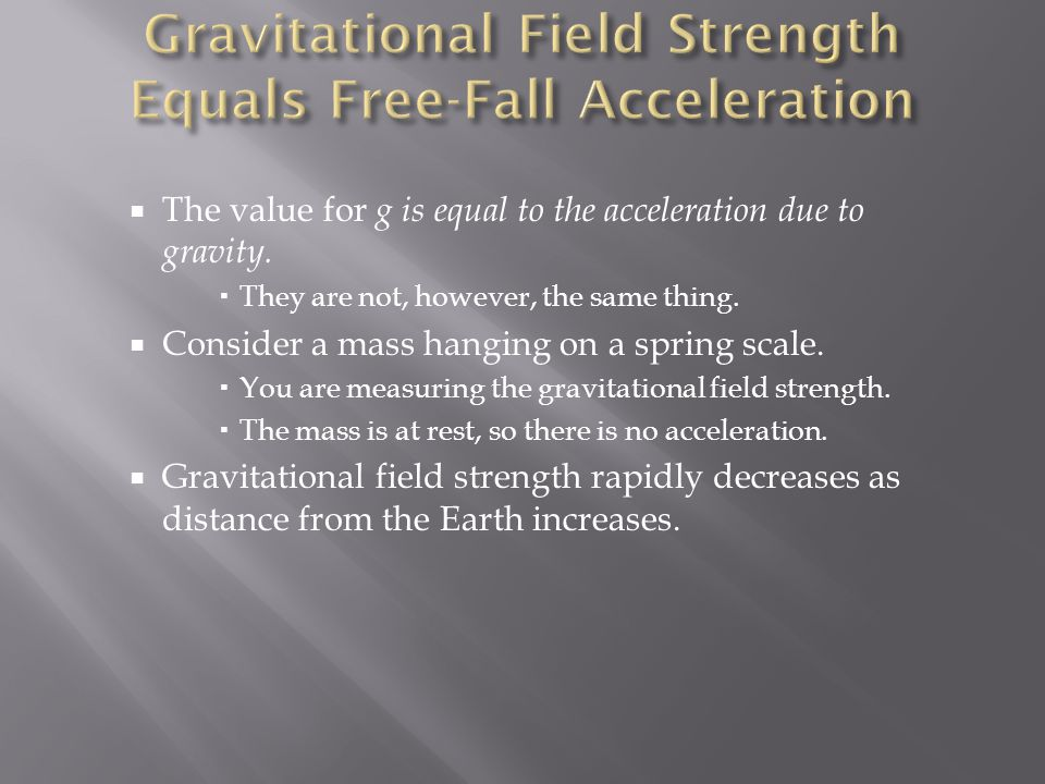 Gravitational Field Strength Equals Free-Fall Acceleration
