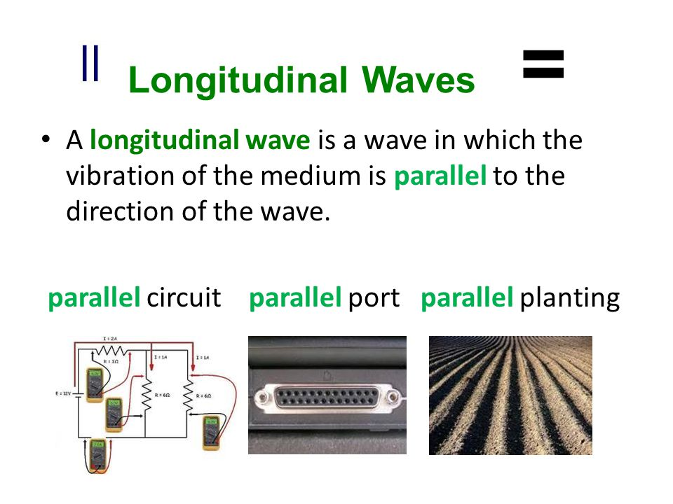 Longitudinal Waves = A longitudinal wave is a wave in which the vibration of the medium is parallel to the direction of the wave.