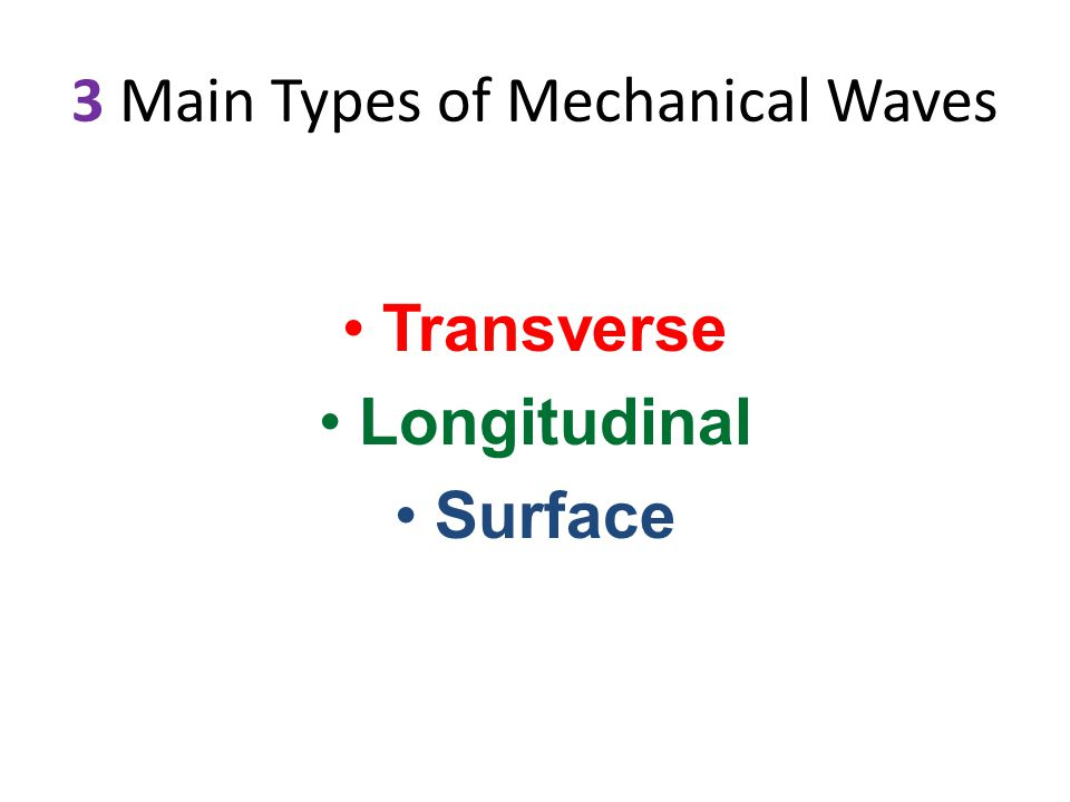3 Main Types of Mechanical Waves