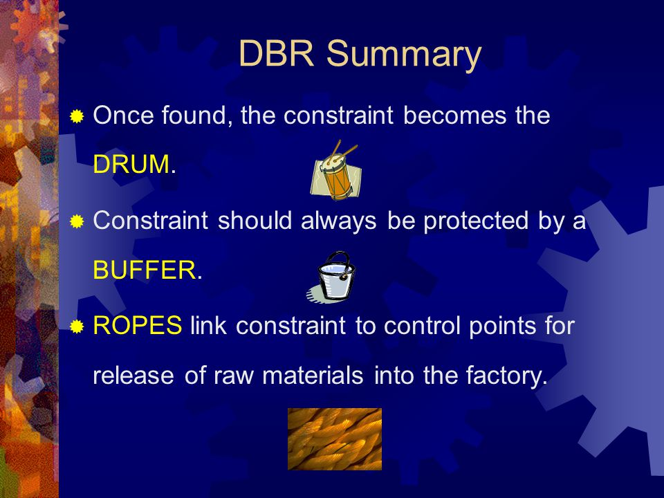 DBR Summary Once found, the constraint becomes the DRUM.