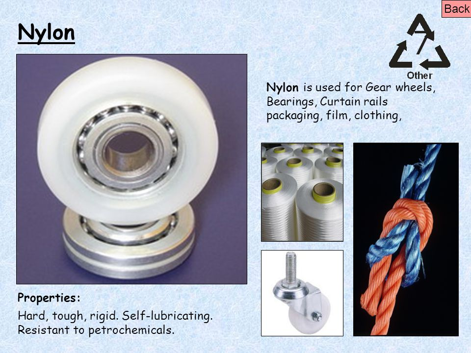 Back Nylon. Nylon is used for Gear wheels, Bearings, Curtain rails packaging, film, clothing, Properties: