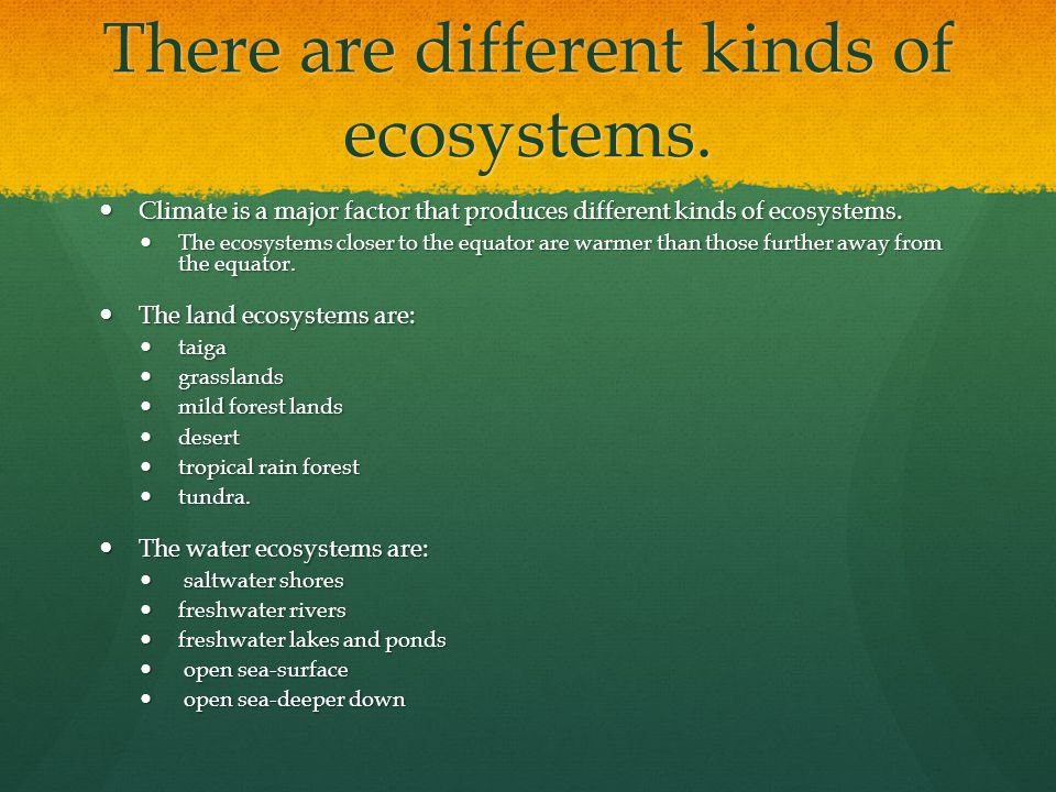 There are different kinds of ecosystems.