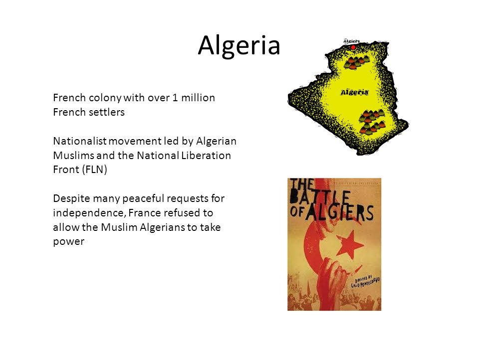 Algeria French colony with over 1 million French settlers