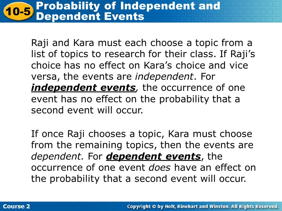 Probability of Independent and Dependent Events - ppt video online ...