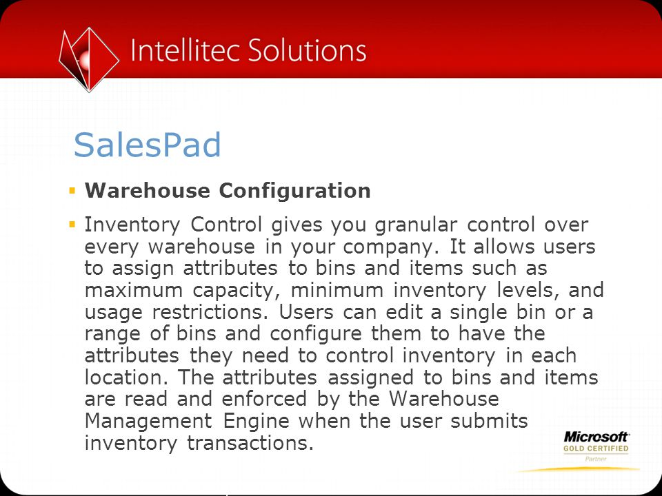 SalesPad Warehouse Configuration