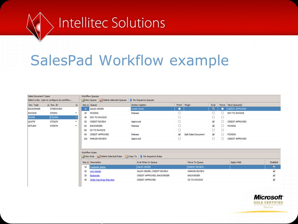 SalesPad Workflow example