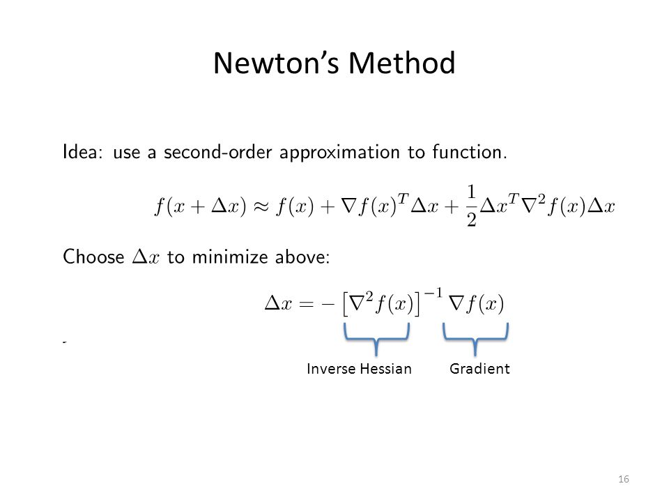Newton's Method Inverse Hessian Gradient