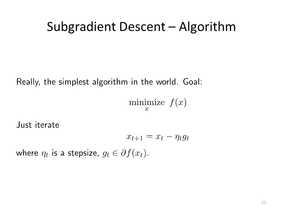 Subgradient Descent – Algorithm