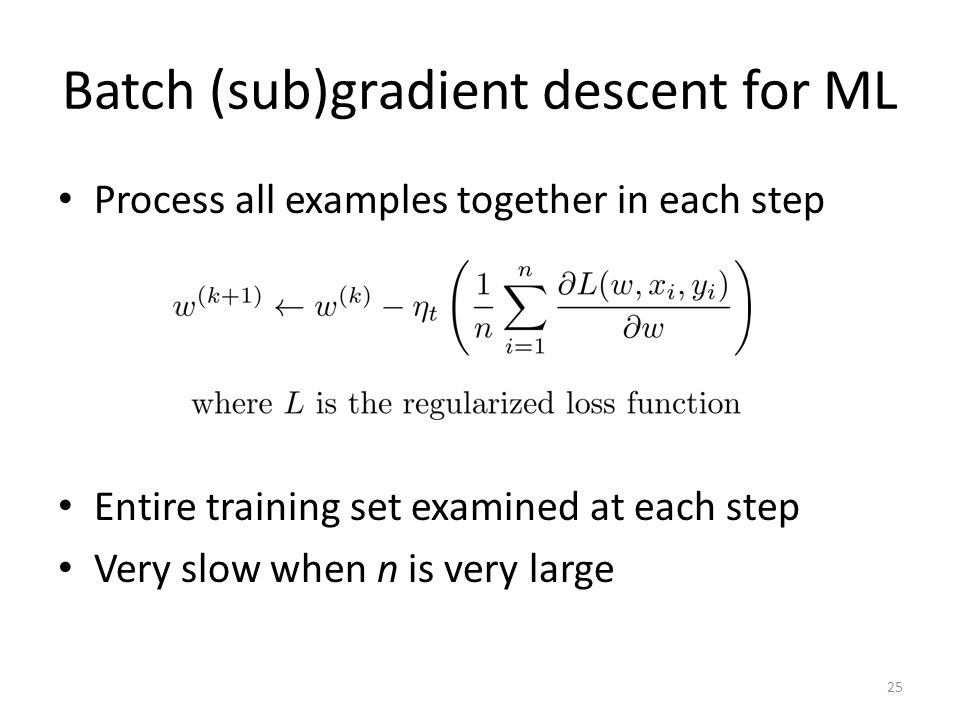 Batch (sub)gradient descent for ML