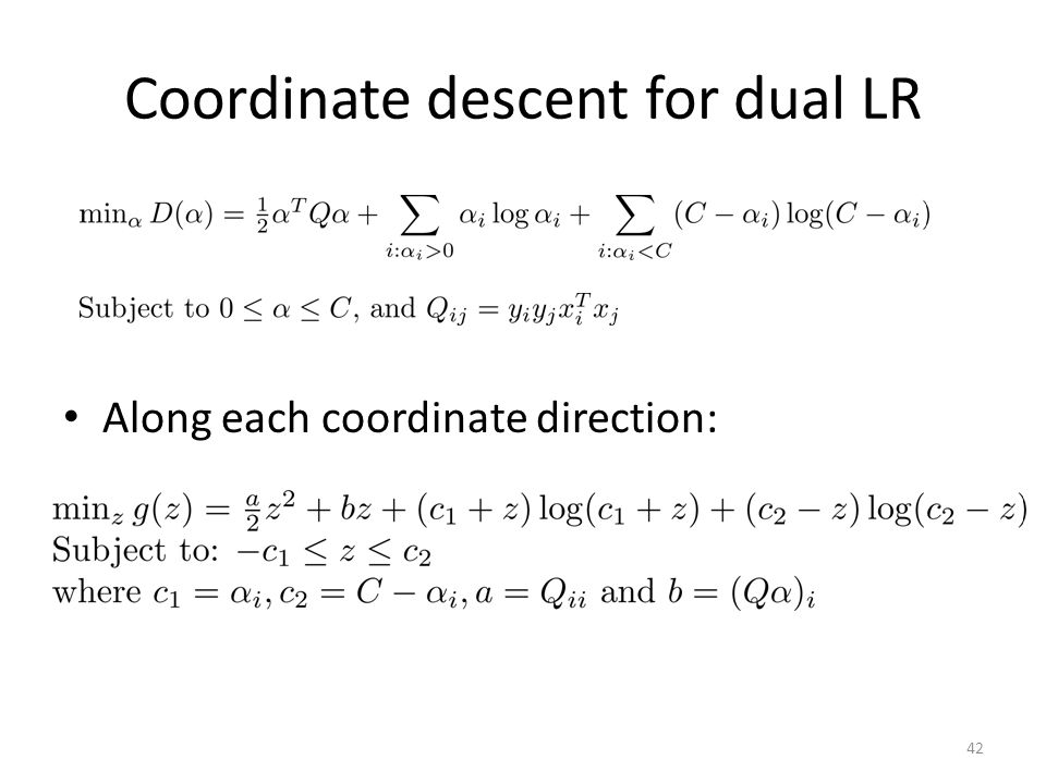 Coordinate descent for dual LR