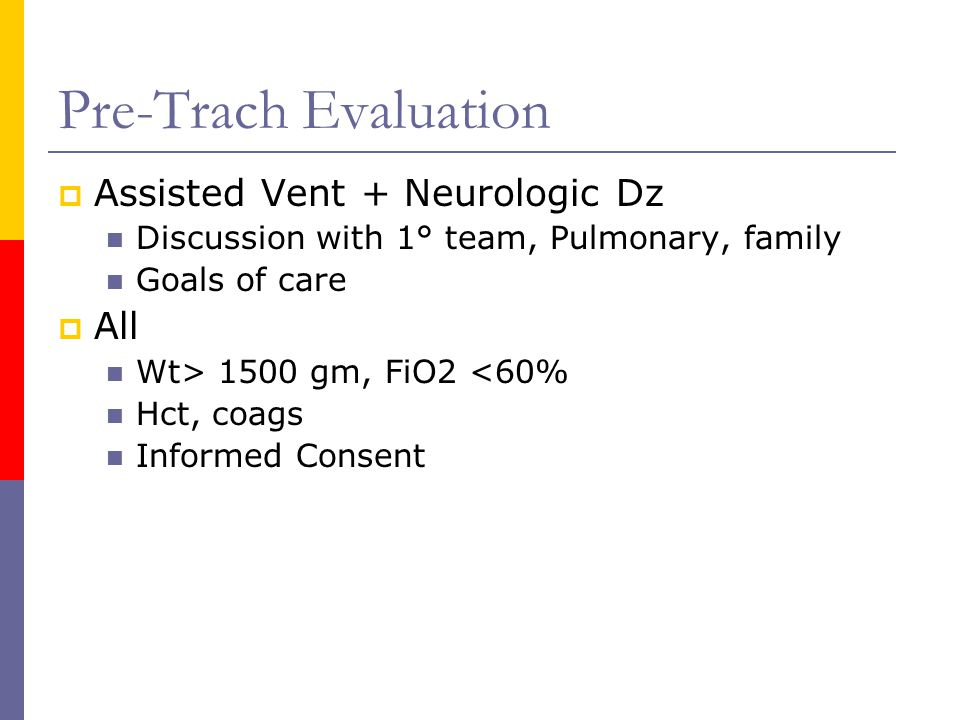 Pre-Trach Evaluation Assisted Vent + Neurologic Dz All