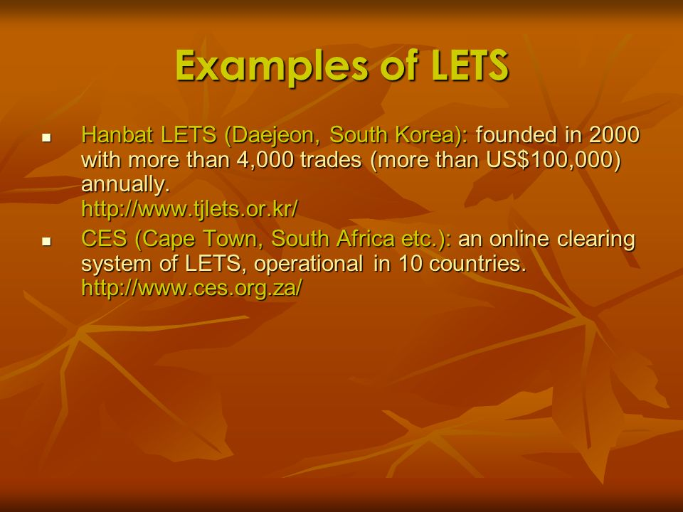 Examples of LETS