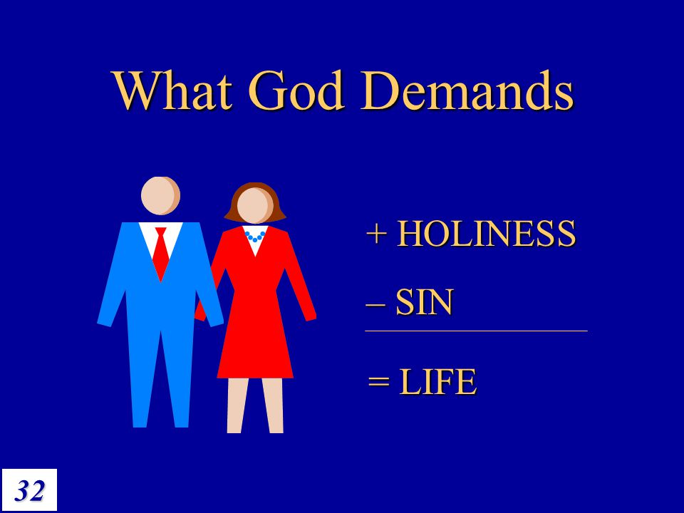 What God Demands + HOLINESS – SIN = LIFE