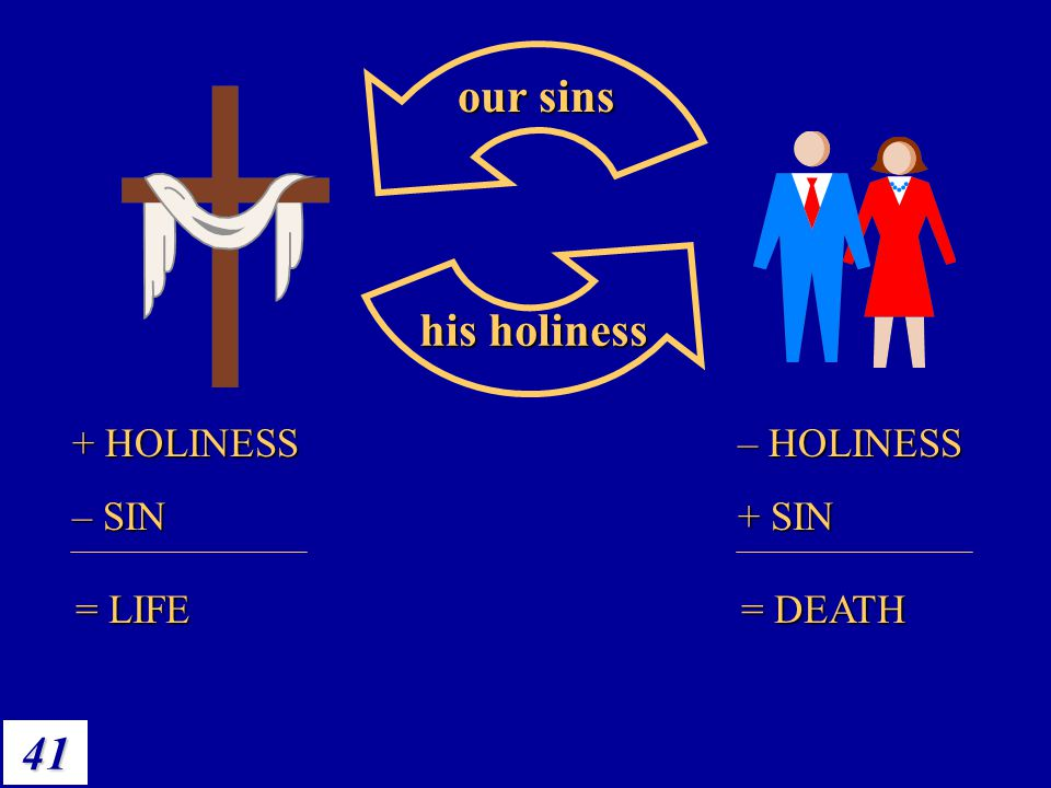 He's life, we're death our sins his holiness + HOLINESS – SIN = LIFE
