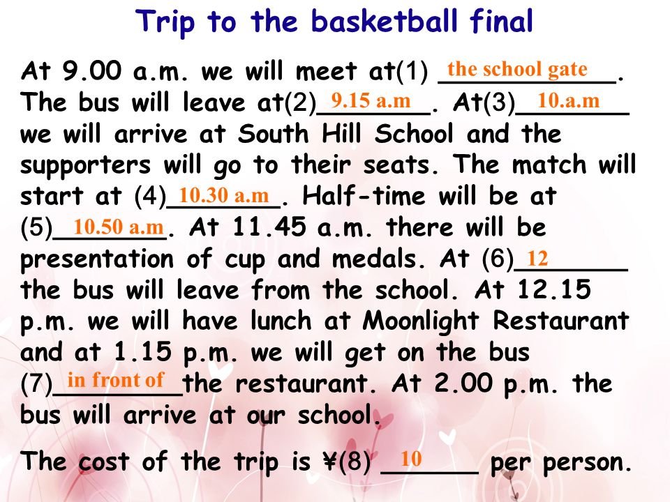 Trip to the basketball final