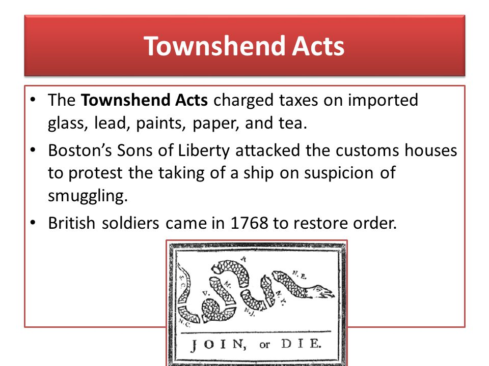 Townshend Acts The Townshend Acts charged taxes on imported glass, lead, paints, paper, and tea.
